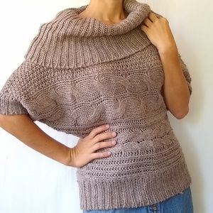 The Limited • tan chunky knit cowl neck sweater